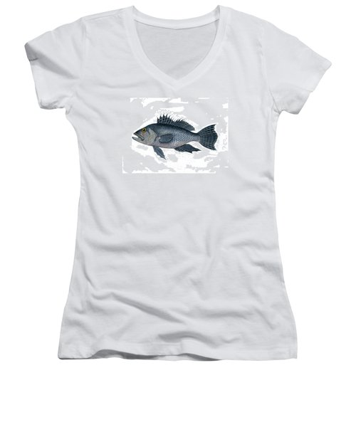 Black Sea Bass 3 Women's V-Neck (Athletic Fit)