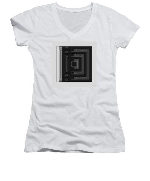 Women's V-Neck T-Shirt (Junior Cut) featuring the digital art Black White Gray Square Geometric by Judi Suni Hall