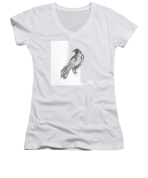 Women's V-Neck T-Shirt (Junior Cut) featuring the drawing Blackbird  by Nicole Gaitan