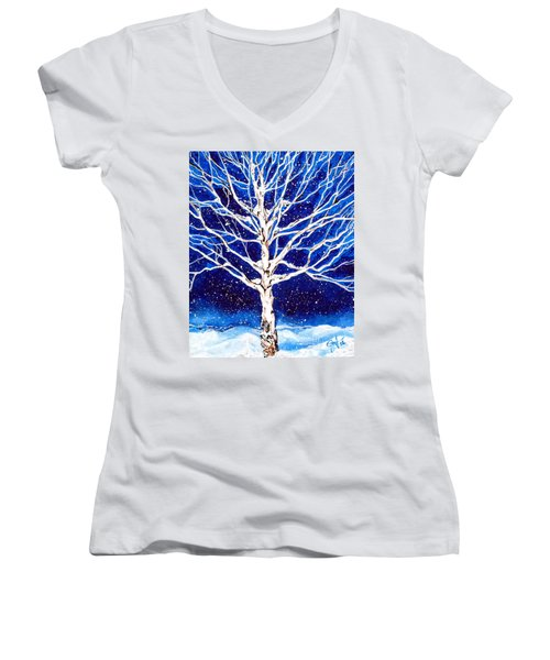 Women's V-Neck T-Shirt (Junior Cut) featuring the painting Blanket Of Stillness by Jackie Carpenter