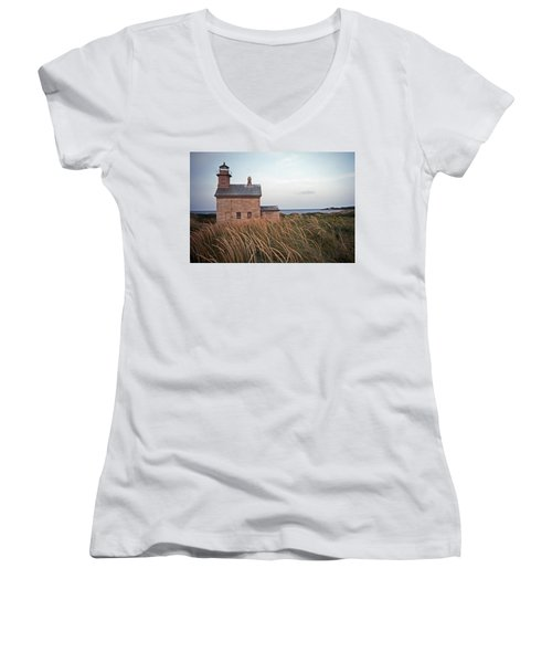 Block Island North West Lighthouse Women's V-Neck T-Shirt (Junior Cut) by Skip Willits