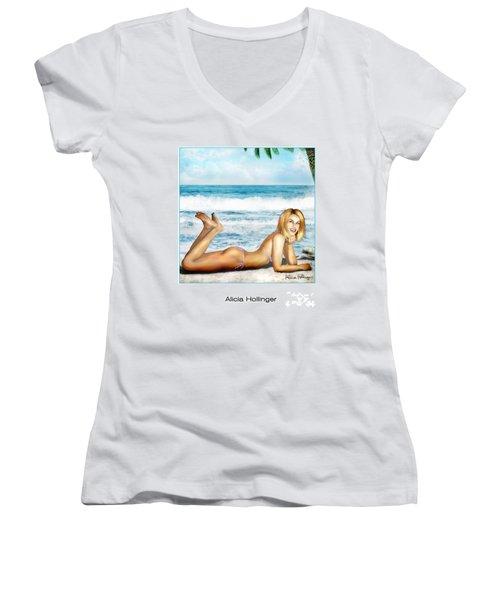 Blonde On Beach Women's V-Neck