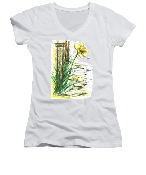Blooming Daffodil Women's V-Neck T-Shirt