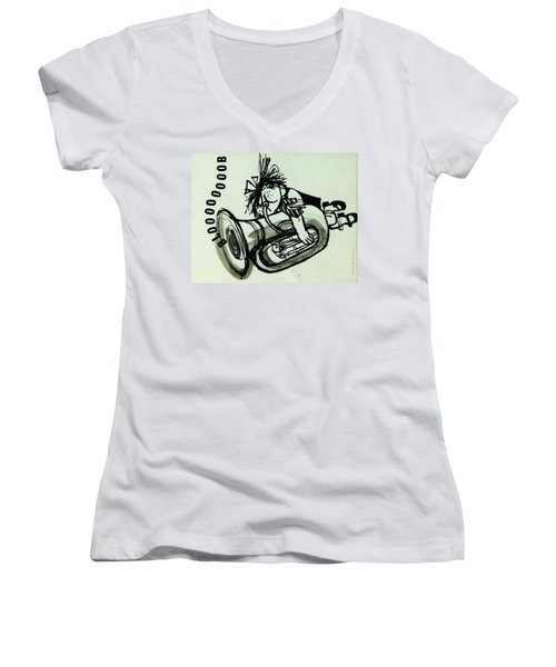 Blooooob! Ink On Paper Women's V-Neck (Athletic Fit)