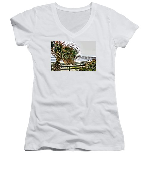 Women's V-Neck featuring the photograph Blowin At The Beach by Alice Gipson