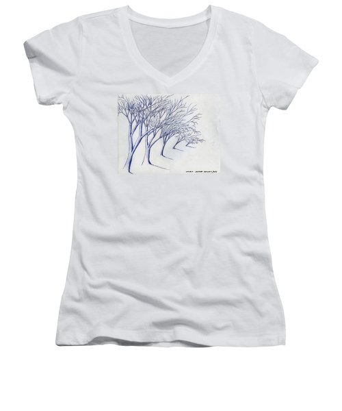 Blowing Trees Women's V-Neck (Athletic Fit)