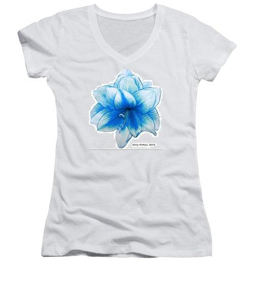 Blue Amaryllis Women's V-Neck (Athletic Fit)
