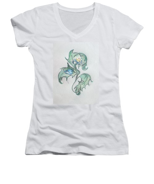 Blue Blossom 2 Women's V-Neck T-Shirt