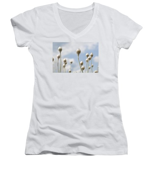 Women's V-Neck T-Shirt (Junior Cut) featuring the photograph Blue Cupidone by Lana Enderle