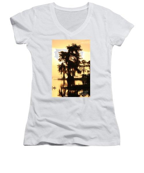 Blue Cypress Yellow Light Women's V-Neck T-Shirt (Junior Cut) by Paul Rebmann