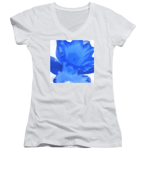 Women's V-Neck T-Shirt (Junior Cut) featuring the photograph Blue Daffodil by Andy Prendy
