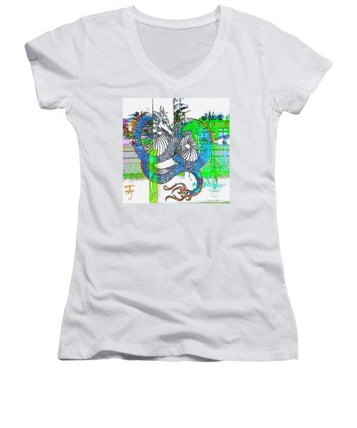 Blue Dragon Women's V-Neck T-Shirt (Junior Cut)