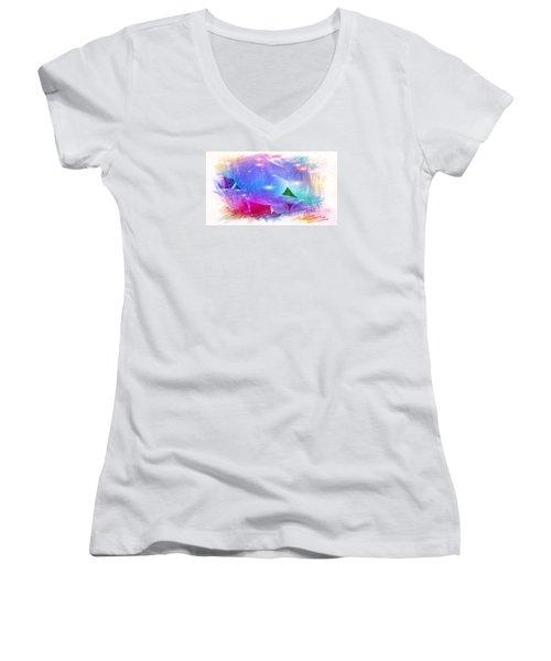 The Blue Petals  Women's V-Neck T-Shirt