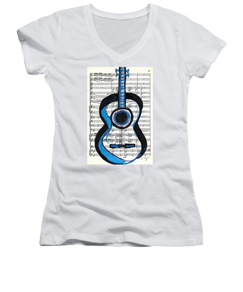 Women's V-Neck T-Shirt (Junior Cut) featuring the drawing Blue Guitar Music by Ecinja Art Works