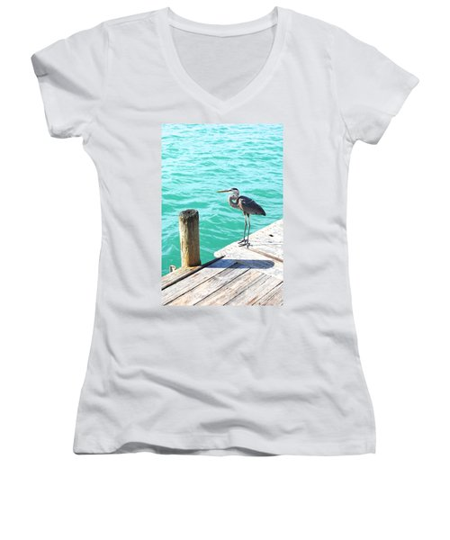 Blue Heron Morning Women's V-Neck T-Shirt