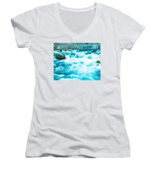Women's V-Neck T-Shirt (Junior Cut) featuring the photograph Blue Lagoon by Steven Bateson