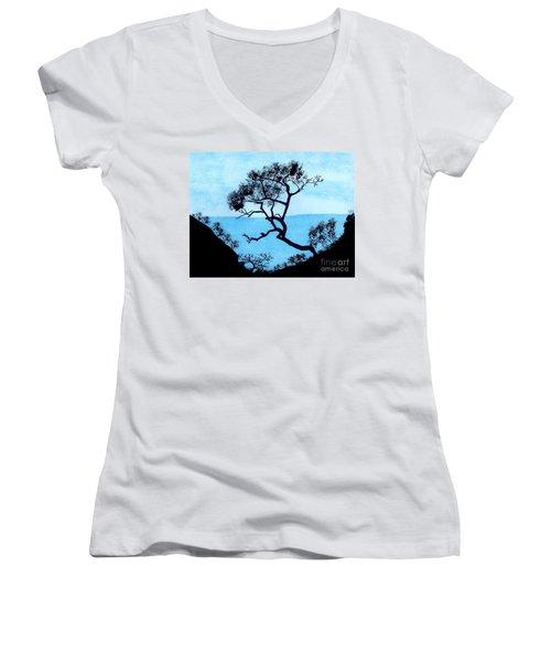 Women's V-Neck T-Shirt (Junior Cut) featuring the drawing Blue Mountain by D Hackett
