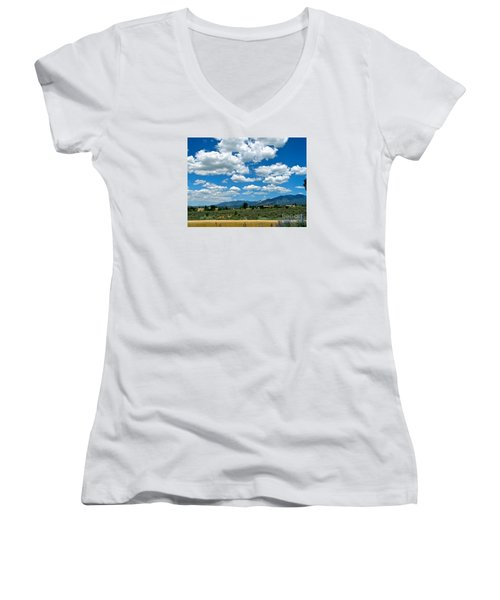 Blue Mountain Skies Women's V-Neck T-Shirt