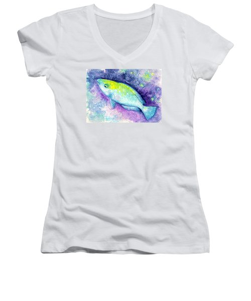 Blue Parrotfish Women's V-Neck T-Shirt