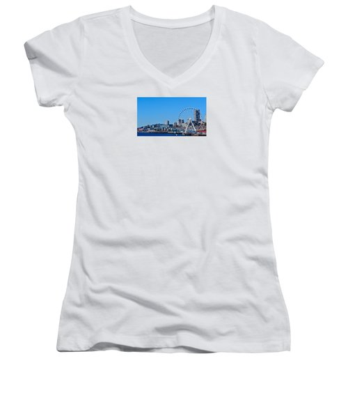 Blue Pier  Women's V-Neck T-Shirt