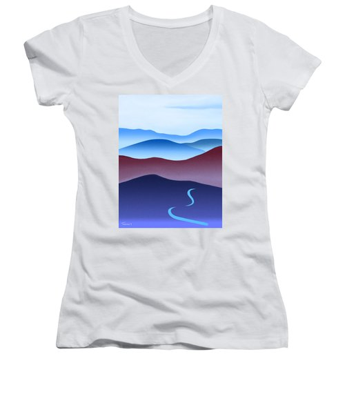 Blue Ridge Blue Road Women's V-Neck T-Shirt