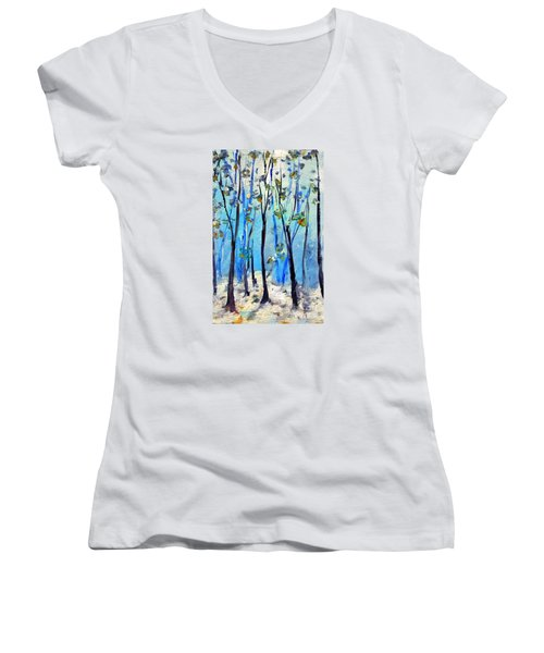 Blue Thoughts In Winter Women's V-Neck