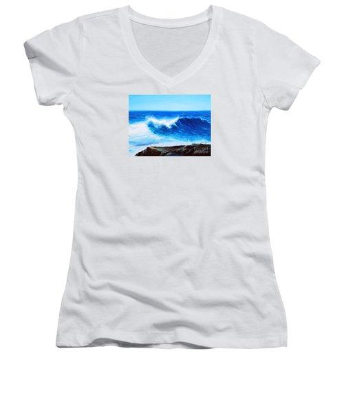 Blue Women's V-Neck T-Shirt (Junior Cut) by Vesna Martinjak