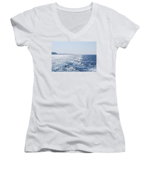 Women's V-Neck T-Shirt (Junior Cut) featuring the photograph Blue Waters by George Katechis