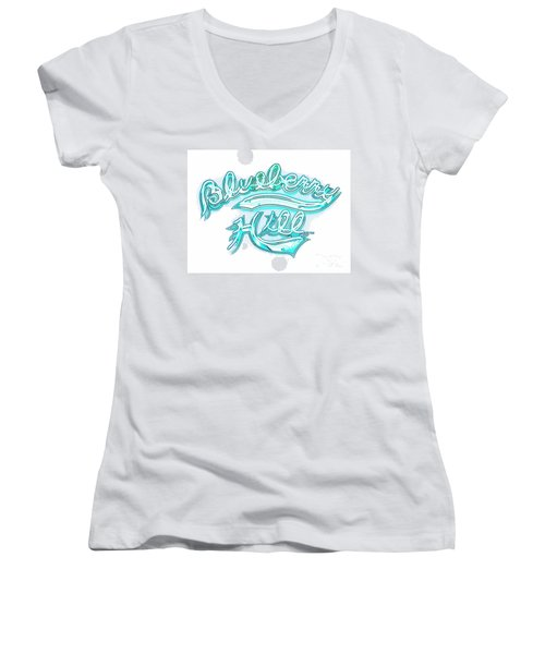 Blueberry Hill Inverted In Neon Blue Women's V-Neck (Athletic Fit)