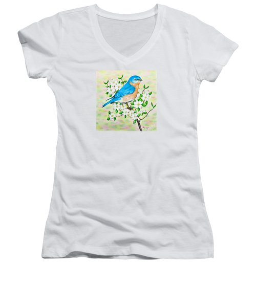 Bluebird And Dogwood Women's V-Neck T-Shirt