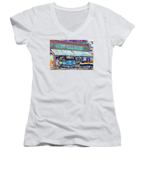 Blues Club In Clarksdale Women's V-Neck (Athletic Fit)
