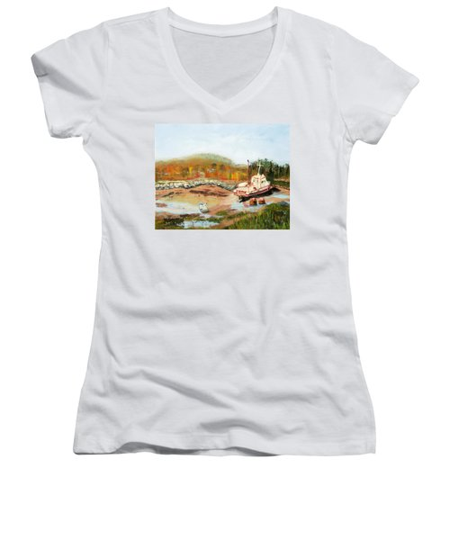 Boat At Bic Quebec Women's V-Neck T-Shirt (Junior Cut) by Michael Daniels