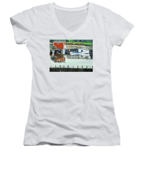 Boat At Louisburg Ns Women's V-Neck T-Shirt (Junior Cut) by Michael Daniels