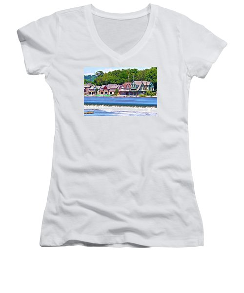 Boathouse Row - Hdr Women's V-Neck T-Shirt