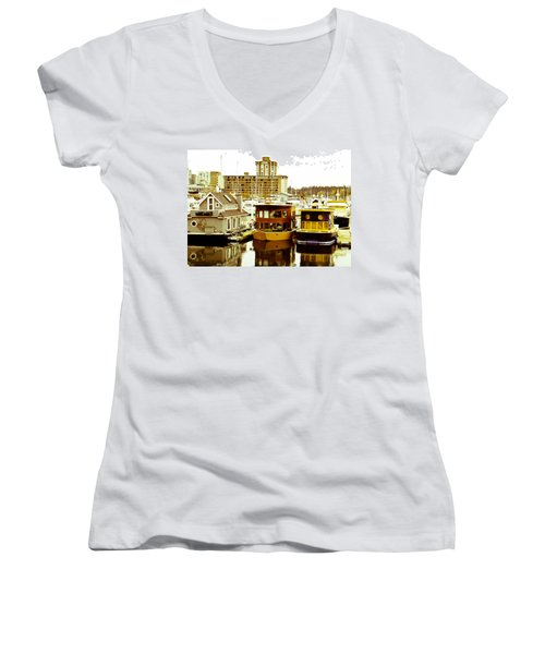 Women's V-Neck T-Shirt (Junior Cut) featuring the photograph Boathouses by Eti Reid