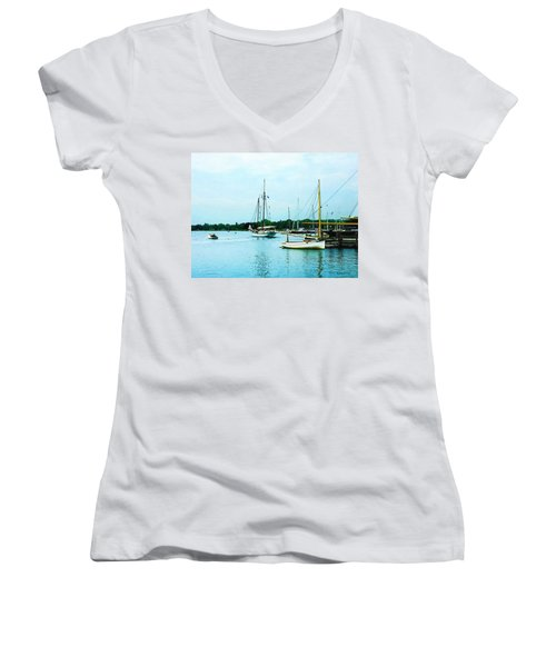 Women's V-Neck T-Shirt (Junior Cut) featuring the photograph Boats On A Calm Sea by Susan Savad