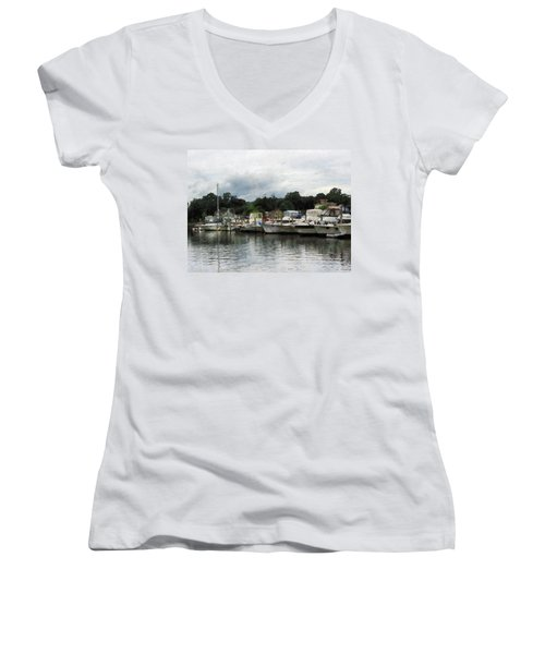Women's V-Neck T-Shirt (Junior Cut) featuring the photograph Boats On A Cloudy Day Essex Ct by Susan Savad