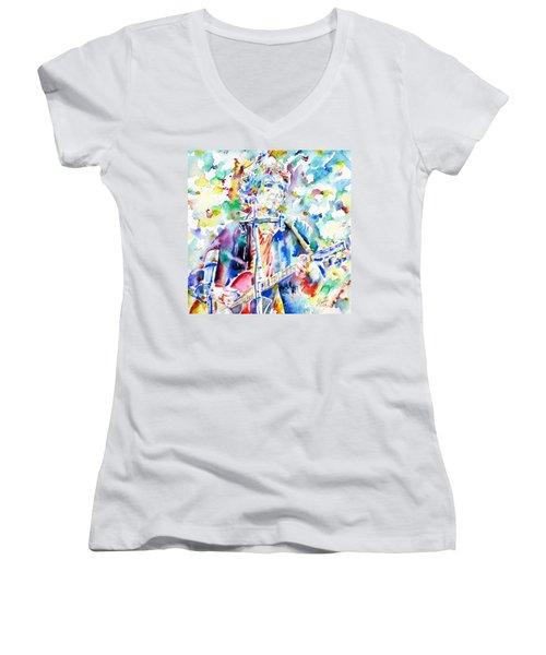 Bob Dylan Playing The Guitar - Watercolor Portrait.1 Women's V-Neck T-Shirt (Junior Cut) by Fabrizio Cassetta