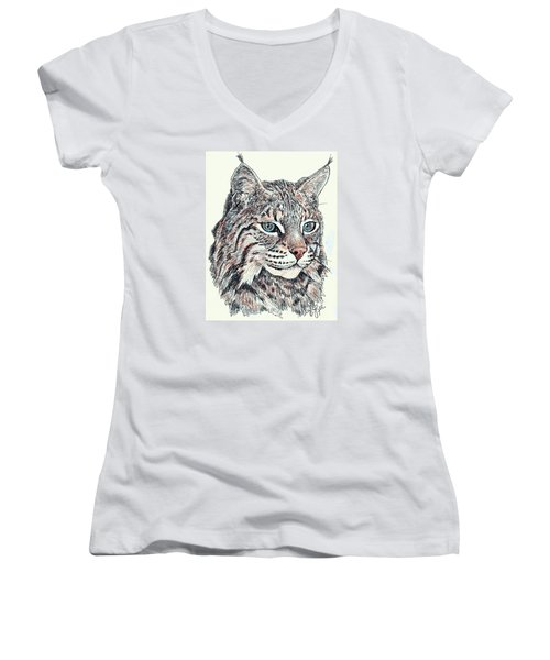 Women's V-Neck T-Shirt (Junior Cut) featuring the drawing Bobcat Portrait by VLee Watson