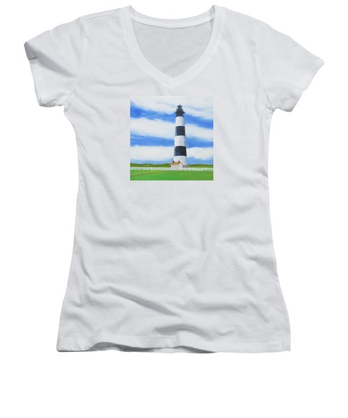 Bodie Island Lighthouse Women's V-Neck T-Shirt (Junior Cut) by Anne Marie Brown