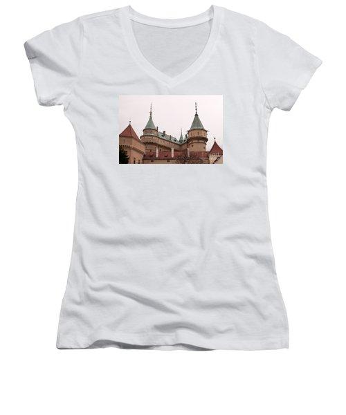 Women's V-Neck T-Shirt (Junior Cut) featuring the photograph Bojnice Castle by Les Palenik