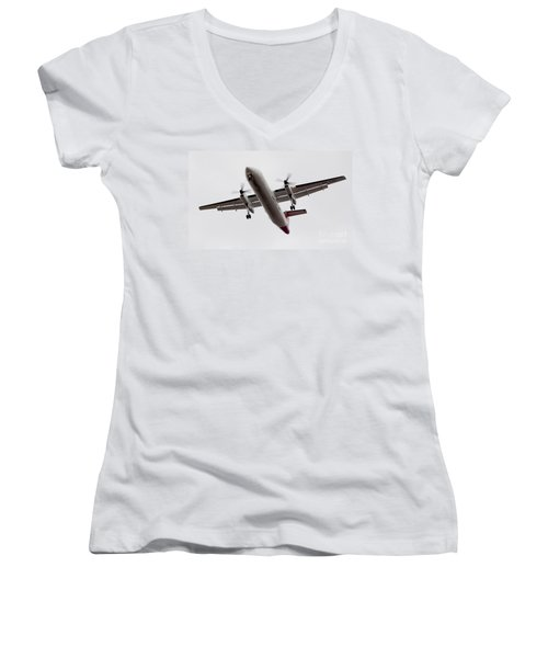 Bombardier Dhc 8 Women's V-Neck T-Shirt (Junior Cut) by Steven Ralser