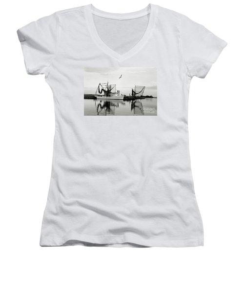 Bon Temps Women's V-Neck T-Shirt (Junior Cut) by Scott Pellegrin