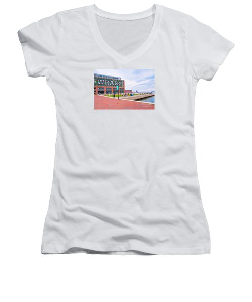 Bond Street Landing Baltimore Maryland Women's V-Neck T-Shirt (Junior Cut) by Vizual Studio