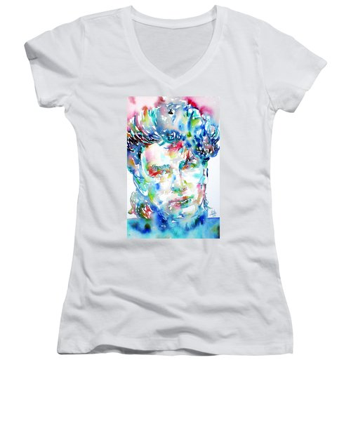 Bono Watercolor Portrait.1 Women's V-Neck T-Shirt (Junior Cut) by Fabrizio Cassetta