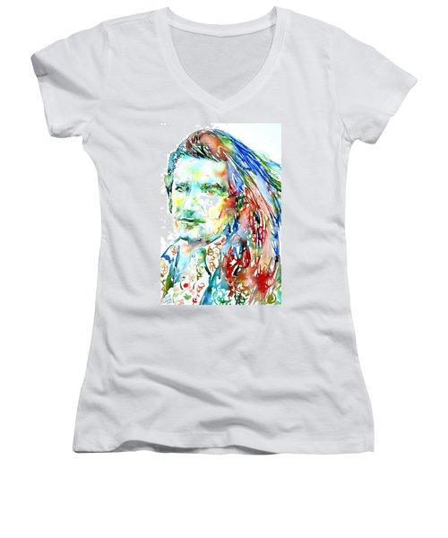 Bono Watercolor Portrait.2 Women's V-Neck (Athletic Fit)