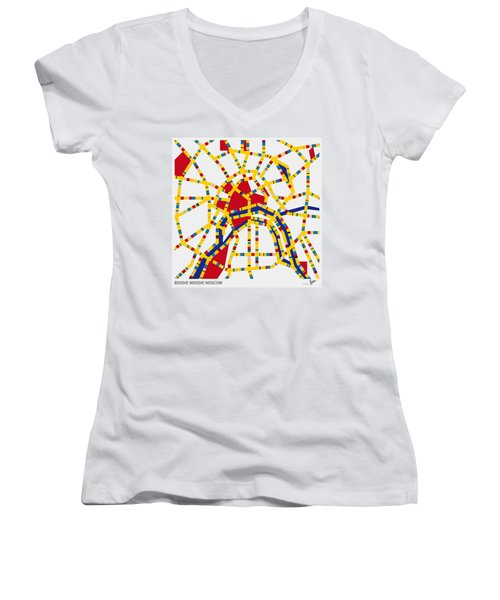 Boogie Woogie Moscow Women's V-Neck T-Shirt (Junior Cut) by Chungkong Art