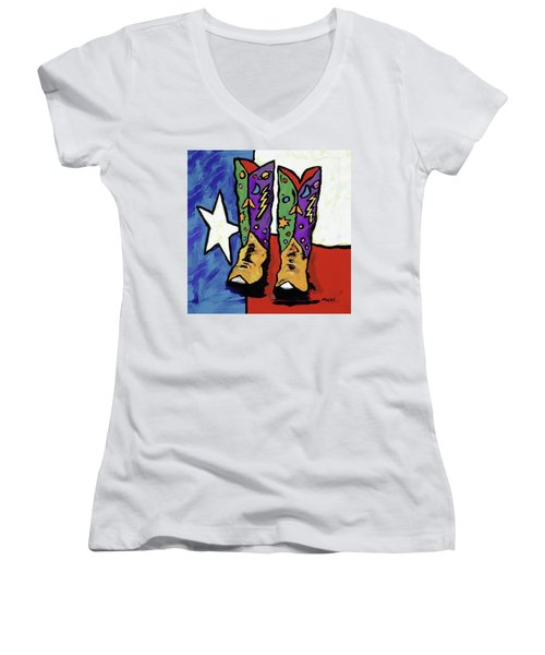 Boots On A Texas Flag Women's V-Neck