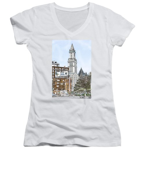 Boston Custom House Tower Women's V-Neck (Athletic Fit)