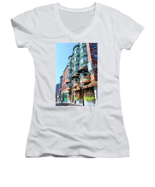 Boston Ma Women's V-Neck T-Shirt (Junior Cut) by Kristin Elmquist